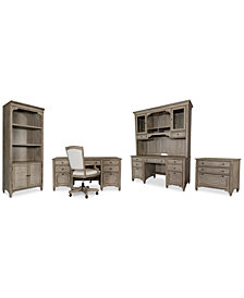 York Home Office, 6-Pc. Furniture Set (Executive Desk, Credenza Desk, Credenza Hutch, Upholstered Desk Chair, Lateral File Cabinet & Bookcase)