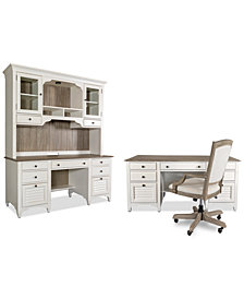 York Two-Tone Home Office, 4-Pc. Furniture Set (Two-Tone Executive Desk, Credenza Desk, Credenza Hutch & Upholstered Desk Chair)