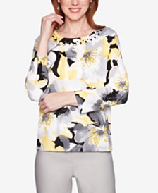 Alfred Dunner Native New Yorker Embellished Floral Watercolor-Print Sweater
