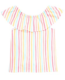 First Impressions Baby Girls Flounce Striped Top, Created for Macy's