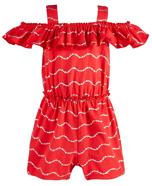 First Impressions Baby Girls Cotton Metallic Waves Romper, Created for Macy's