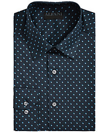 AlfaTech by Alfani Men's Fitted Performance Stretch Shadow Box Print Dress Shirt, Created for Macy's