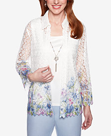 Alfred Dunner Petite Southampton Layered-Look Necklace Top