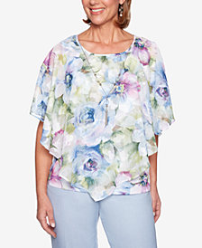 Alfred Dunner Petite Southampton Layered Necklace Top