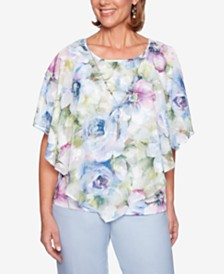 Alfred Dunner Southampton Printed Necklace Top