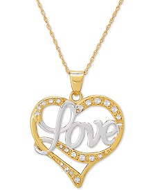 "Love Two-Tone 18"" Pendant Necklace in 14k Gold & 14k White Gold"