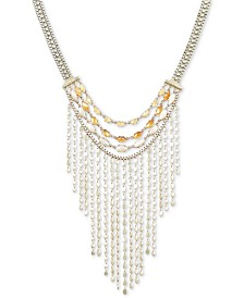 "Lucky Brand Gold-Tone Citrine Bead Fringe Statement Necklace, 17"" + 2"" extender"