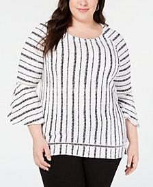 JM Collection Plus Size Bell-Sleeve Crinkle Top, Created for Macy's
