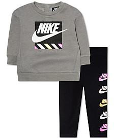 78d044c6566366 Nike Baby Girls 2-Pc. Cotton Sweatshirt   Leggings Set