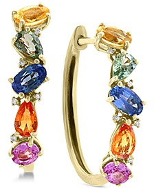 EFFY® Multi-Sapphire (2-3/4 ct. t.w.) & Diamond Accent Hoop Earrings in 14k Gold