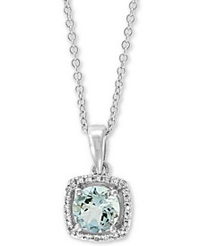 "EFFY® Aquamarine (3/4 ct. t.w.) & Diamond Accent 18"" Pendant Necklace in 14k White Gold"