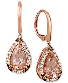 Le Vian® Peach & Nude Peach Morganite (3 ct. t.w.) & Diamond (5/8 ct. t.w.) Drop Earrings in 14k Rose Gold