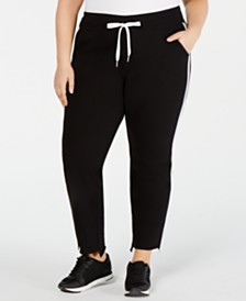 Calvin Klein Performance Plus Size Striped Step-Hem Pants