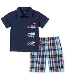 Kids Headquarters Toddler Boys Textured Construction-Print Polo & Plaid Shorts