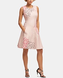 DKNY Sleeveless Printed Fit & Flare Dress