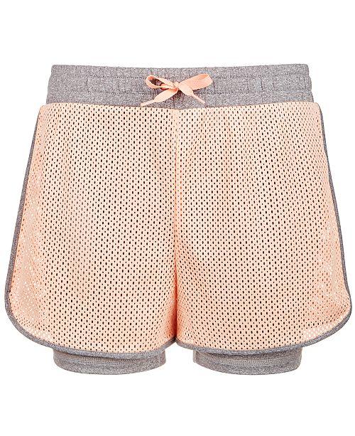 Ideology Big Girls Layered-Look Mesh Shorts, Created for Macy's