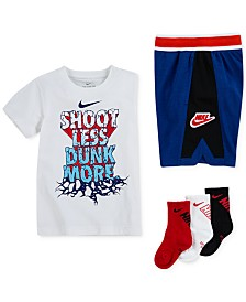 Nike Little Boys Dunk-Print T-Shirt, Hoopfly Shorts & Crew Socks