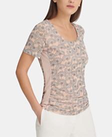 DKNY Printed Short-Sleeve Top