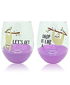 "Set of 2 ""Get Slothed"" & ""Born To Be Wild"" Color Dip 22oz. Stemless Wine Glasses"