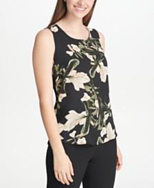 DKNY Petite Floral-Print Top