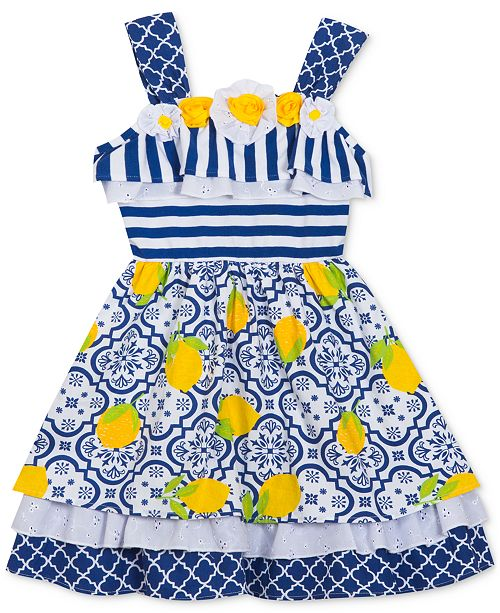 Rare Editions Baby Girls Striped Printed Dress