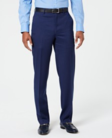 Sean John Men's Classic-Fit Stretch Blue/Pink Pinstripe Suit Pants