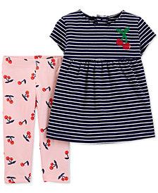 Carter's Baby Girls 2-Pc. Striped Tunic & Cherry-Print Leggings Set