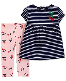 Carter's Baby Girls 2-Pc. Striped Tunic & Cherry-Print Leggings Set