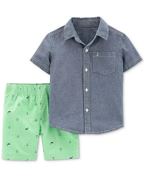 Carter's Toddler Boys 2-Pc. Cotton Chambray Shirt & Shorts Set