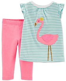Baby Girls 2-Pc. Striped Flamingo Top & Leggings Set