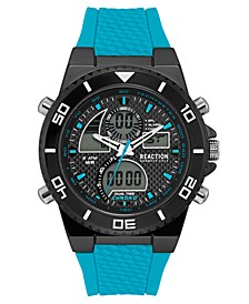 Men's Analog-Digital Turquoise Silicone Strap Watch 46mm