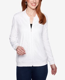 Alfred Dunner Smooth Sailing Eyelet Zip-Up Jacket