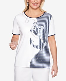 Alfred Dunner Smooth Sailing Embellished Appliqué-Front Top