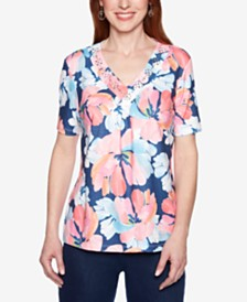 Alfred Dunner Smooth Sailing Embellished-Neck Printed T-Shirt