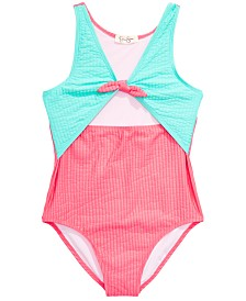 Jessica Simpson Big Girls 1-Pc. Seersucker Swimsuit