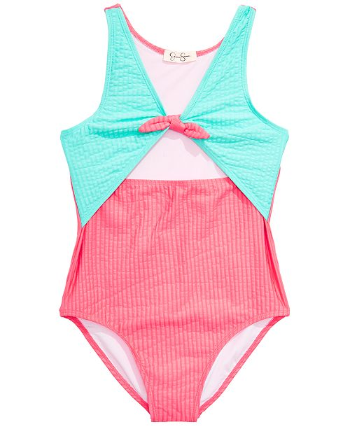 Carter's Jessica Simpson Big Girls 1-Pc. Seersucker Swimsuit