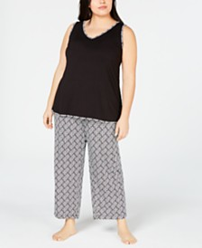Charter Club Plus Size Tank and Cropped Pants Pajama Set, Created for Macy's