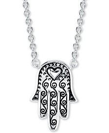 "Unwritten Hamsa Hand Heart Pendant Necklace in Sterling Silver, 16"" + 2"" extender"