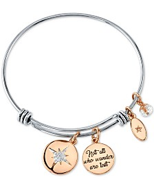 "Unwritten ""Not All Who Wonder Are Lost"" Crystal Star Bangle Bracelet in Stainless Steel & Rose Gold-Tone Stainless Steel"