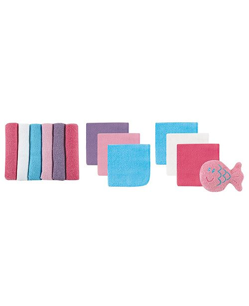 Luvable Friends Washcloths with Toy, 13-Piece Set, Pink and Purple, One Size
