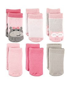 Terry Crew Socks, 6-Pack, Hippo and Owl, 0-12 Months