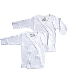Long-Sleeve Side Snap Shirts, 2-Pack, White, 0-3 Months