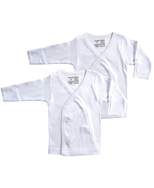 Luvable Friends Long-Sleeve Side Snap Shirts, 2-Pack, White, 0-3 Months