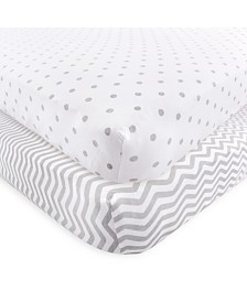 Luvable Friends Fitted Knit Crib Sheet, 2-Pack