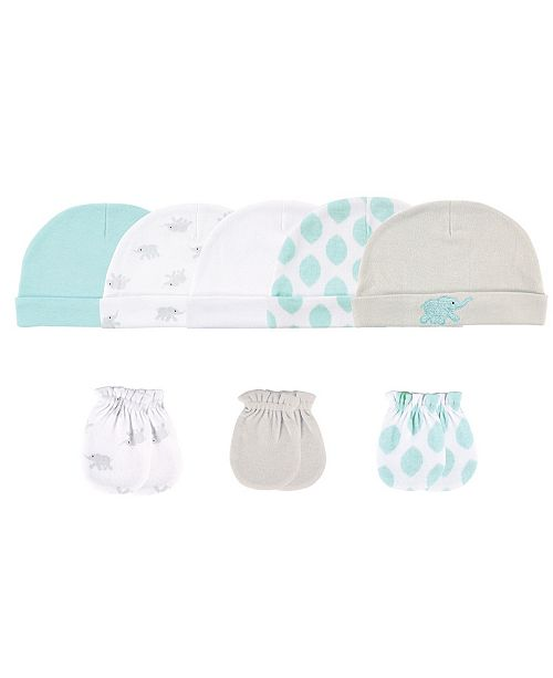 Luvable Friends Cap and Scratch Mittens, 8-Piece Set, 0-6 Months