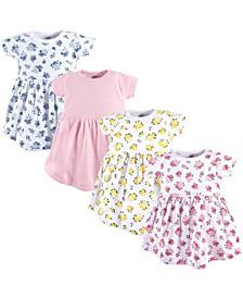 Cotton Dress, 4-Pack, Floral, 0 Months-5T