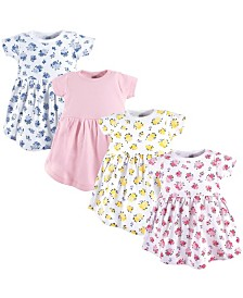Luvable Friends Cotton Dress, 4-Pack, Floral, 0 Months-5T