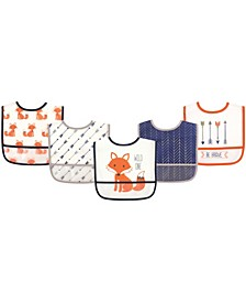 Hudson Baby Waterproof Bibs, 5-Pack, One Size