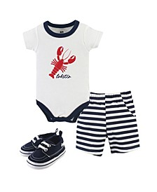 Bodysuits, Shorts and Shoes, 3-Piece Set, 0-18 Months