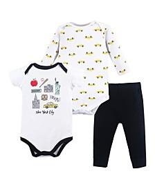 Bodysuits and Pants 3-Piece Set, 0-24 Months